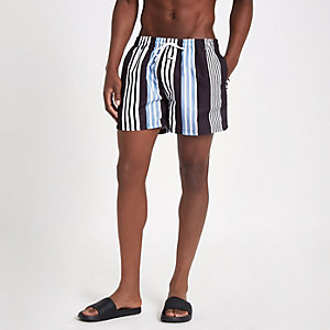 Black stripe swim trunks