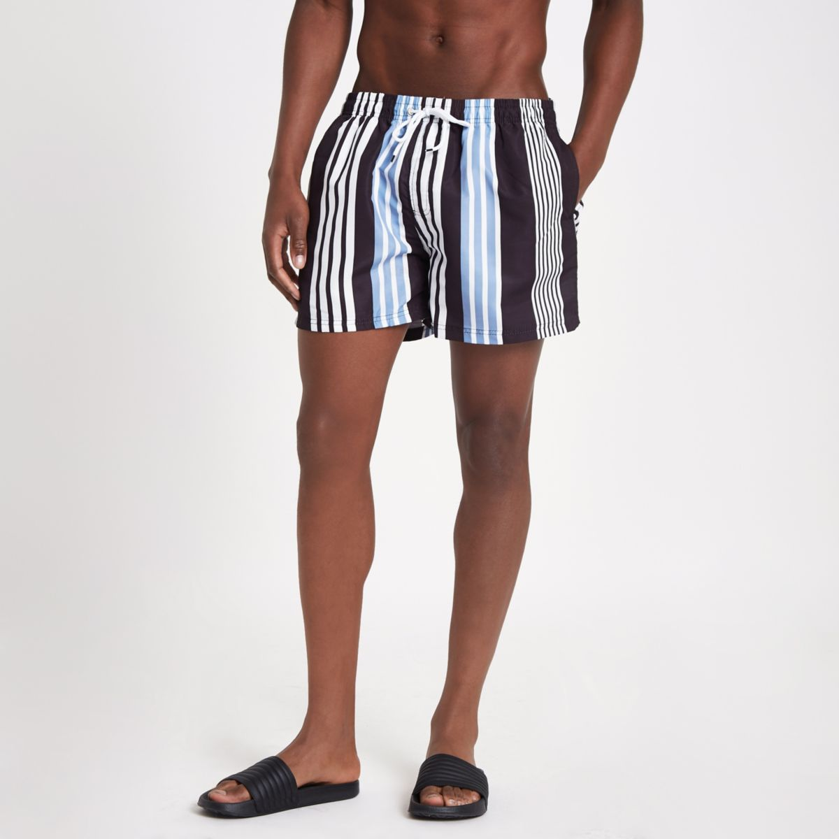 Black stripe swim trunks