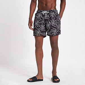 Black monochrome print swim shorts