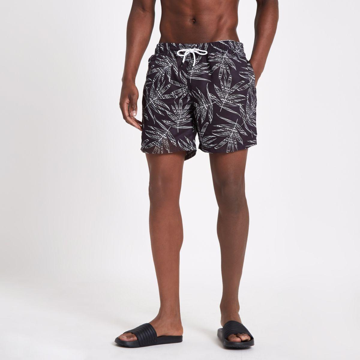 Black monochrome print swim trunks