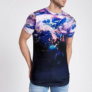 T-shirt ajusté imprimé paysage délavé violet