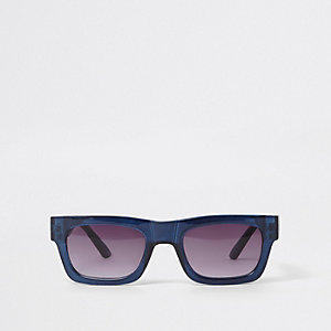 Blue retro smoke lens sunglasses