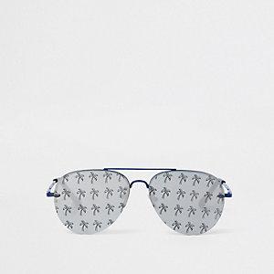 Blaue Pilotensonnenbrille mit Palmenprint