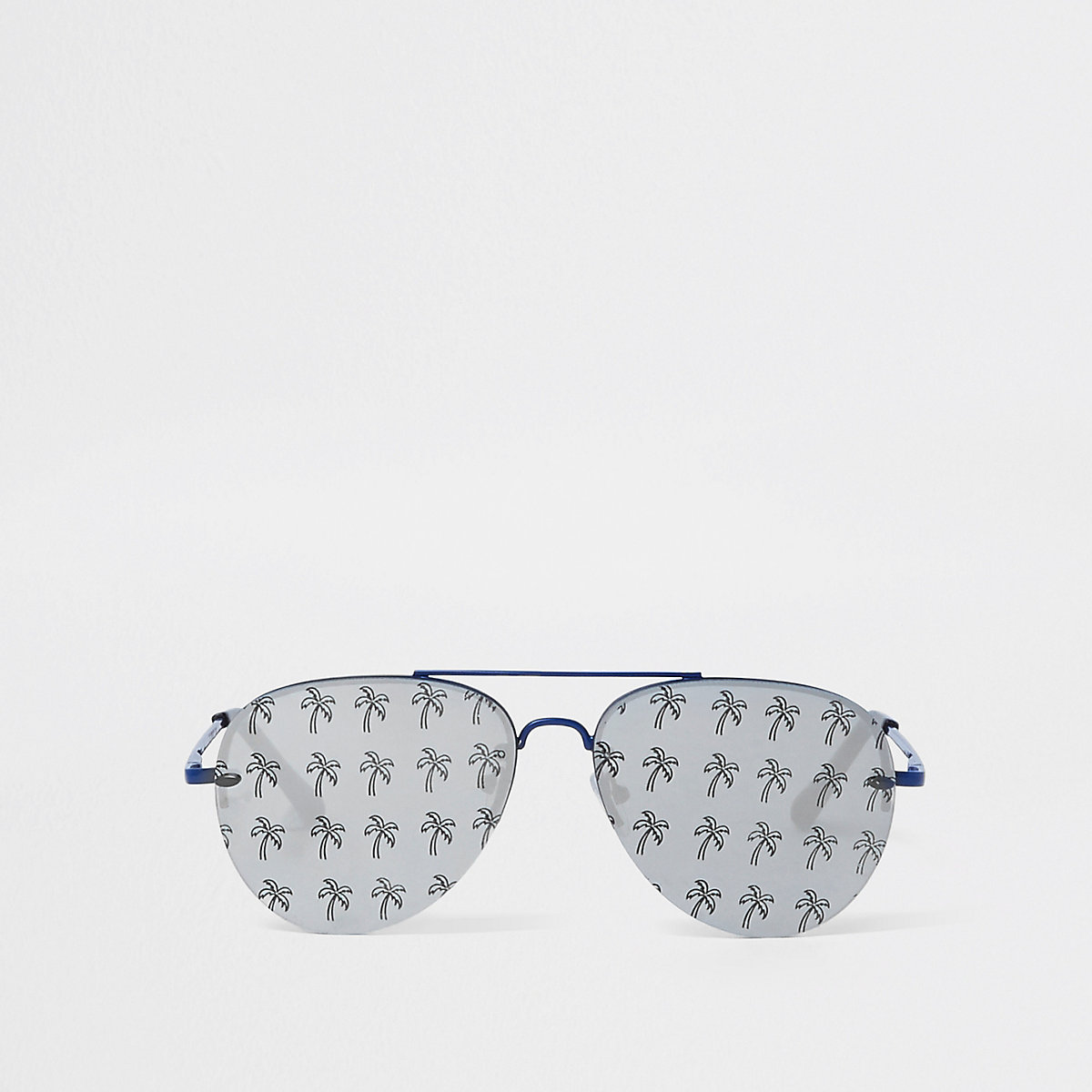 Blue palm tree print aviator sunglasses