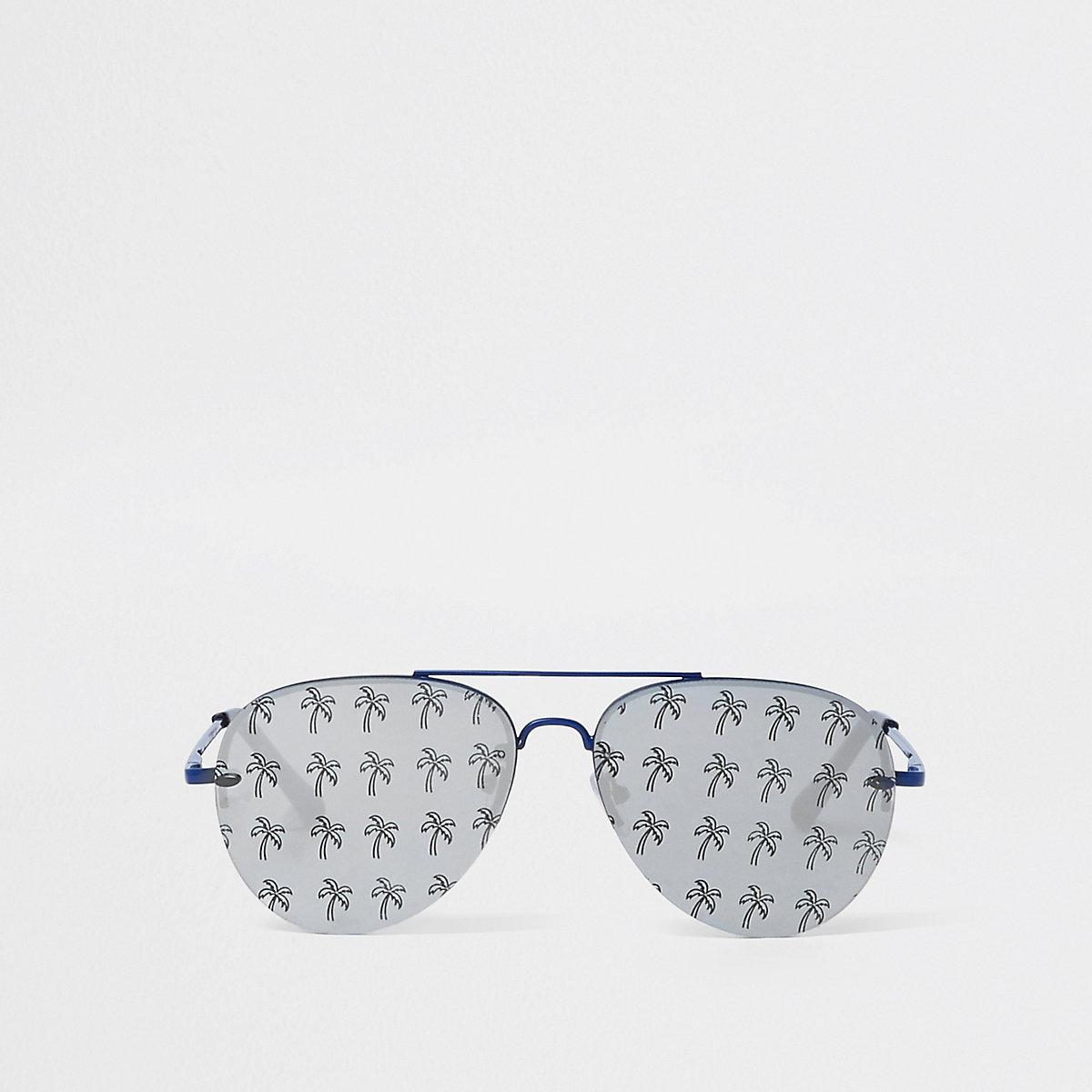 Lunettes de soleil aviateur imprimé palmiers bleues