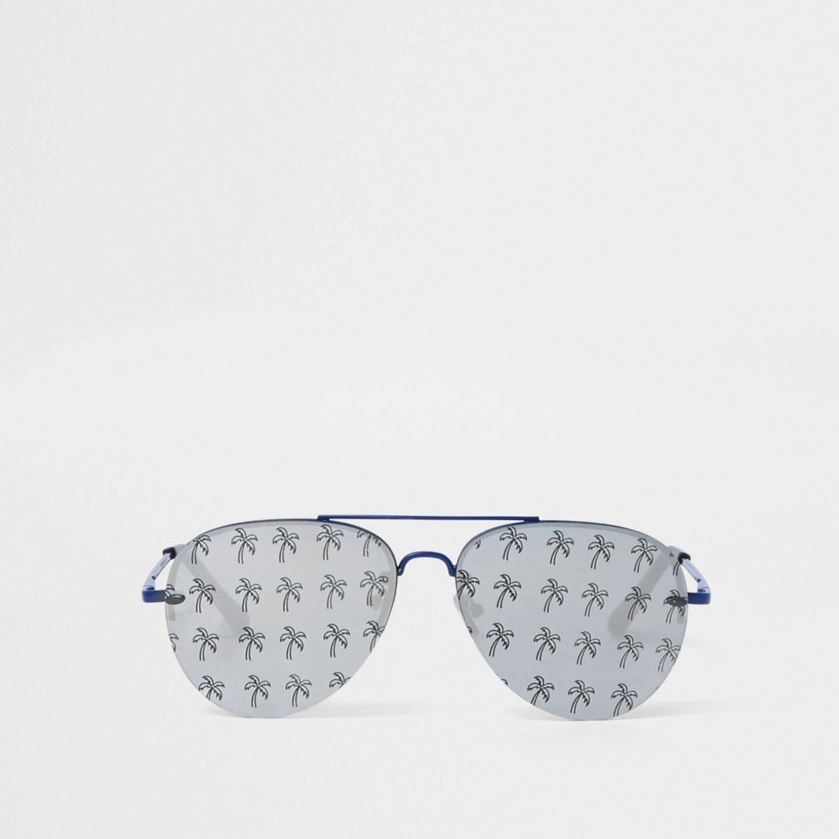 Blue palm tree print aviator sunglasses