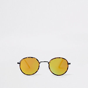 Brown tortoiseshell yellow lense sunglasses