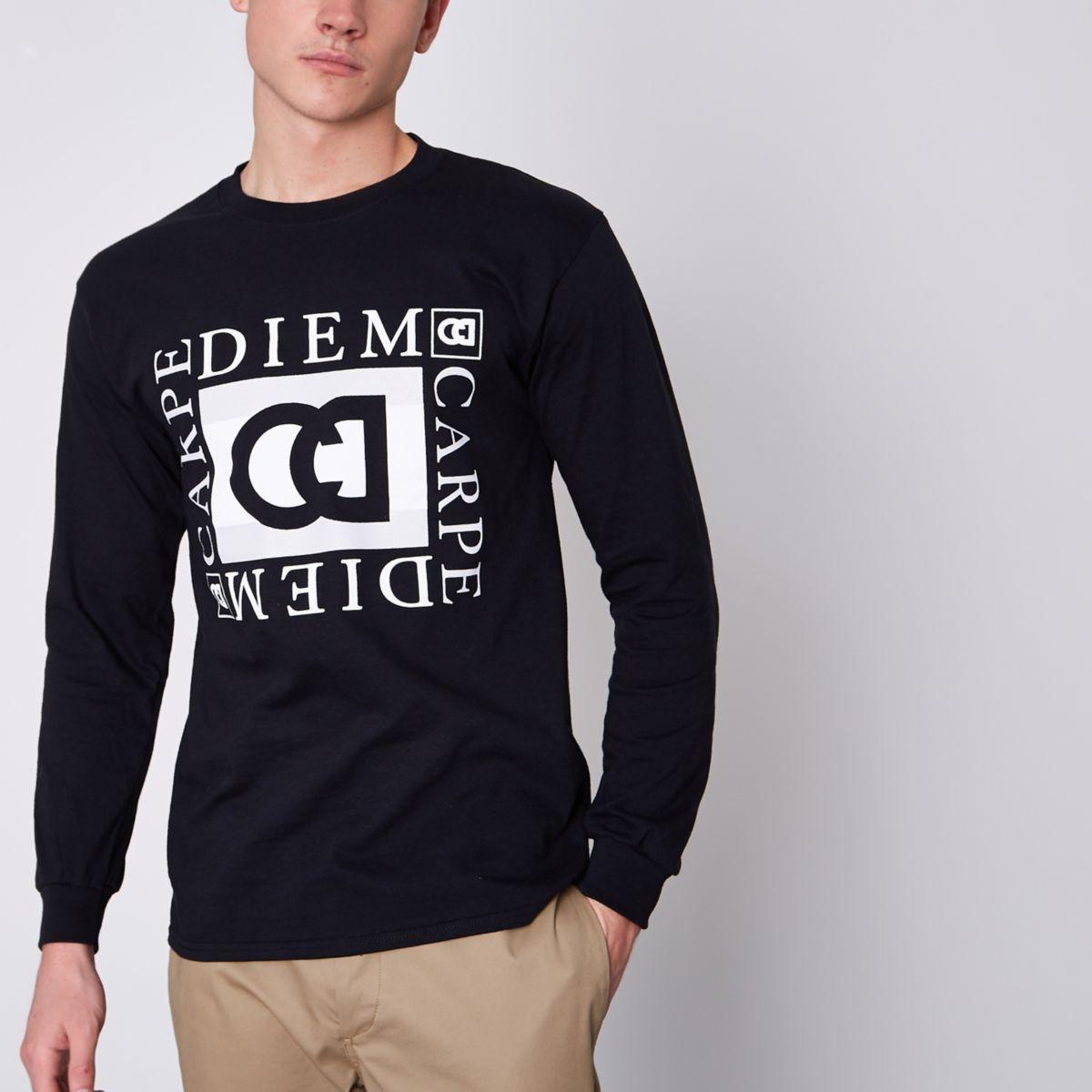 """Schwarzes, schmales T-Shirt """"carpe diem"""" mit langen Ärmeln"""