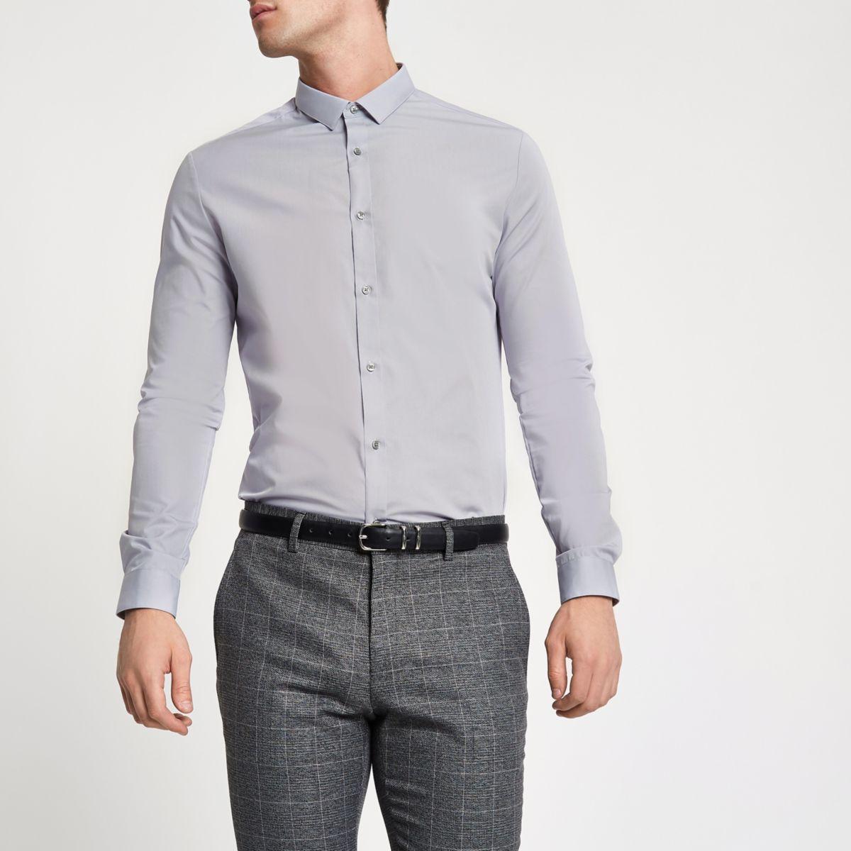 Light grey slim fit long sleeve shirt long sleeve shirts for Grey long sleeve shirts