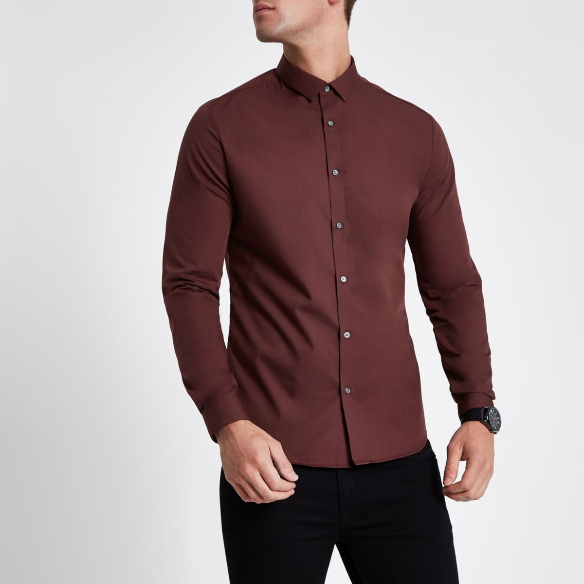 Dark brown slim fit long sleeve shirt