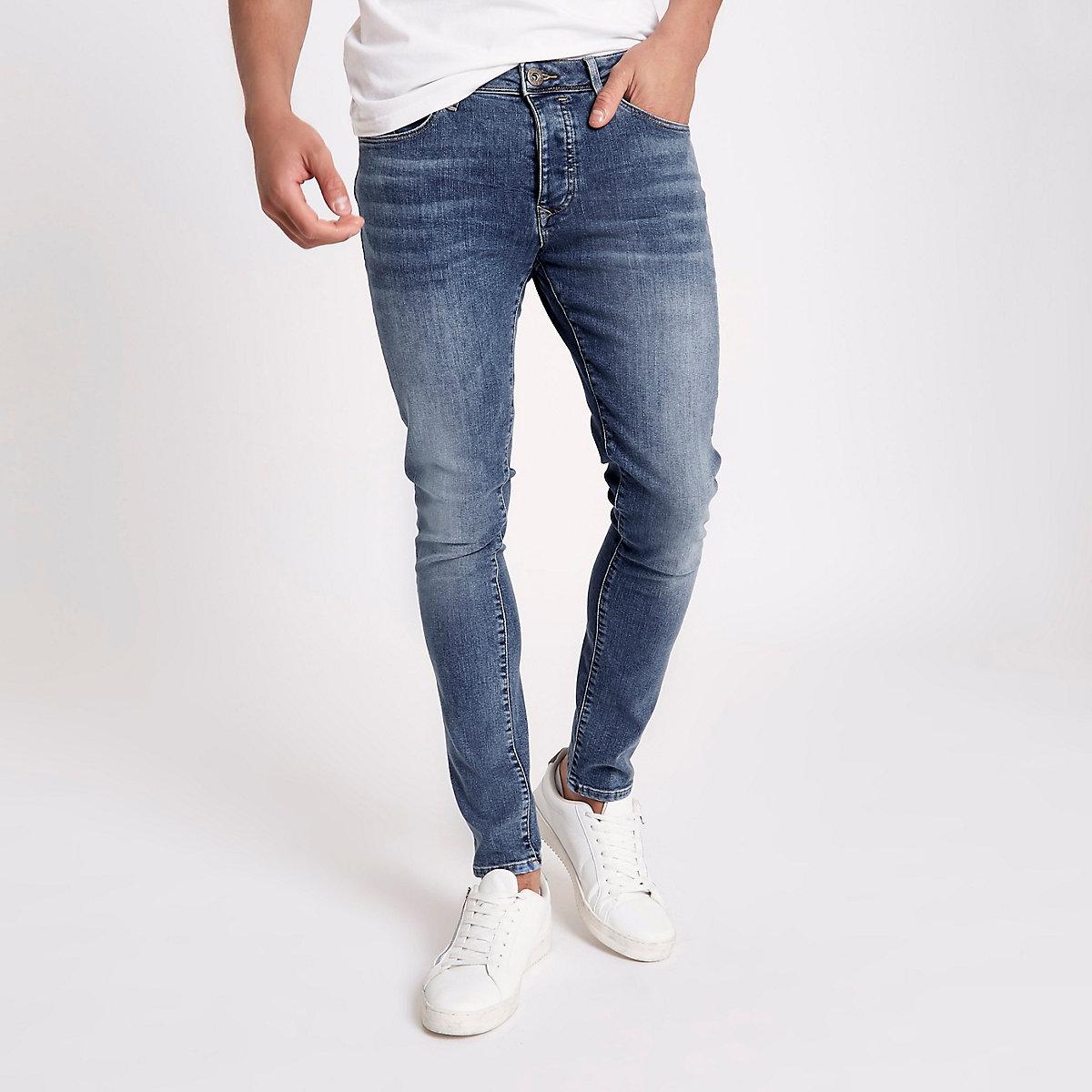 Mid blue Danny super skinny stretch jeans
