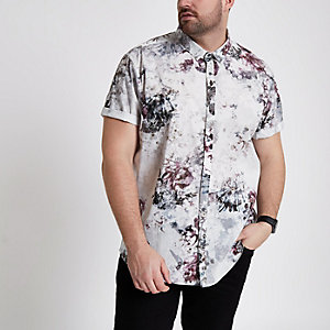 Big and Tall cream floral short sleeve shirt