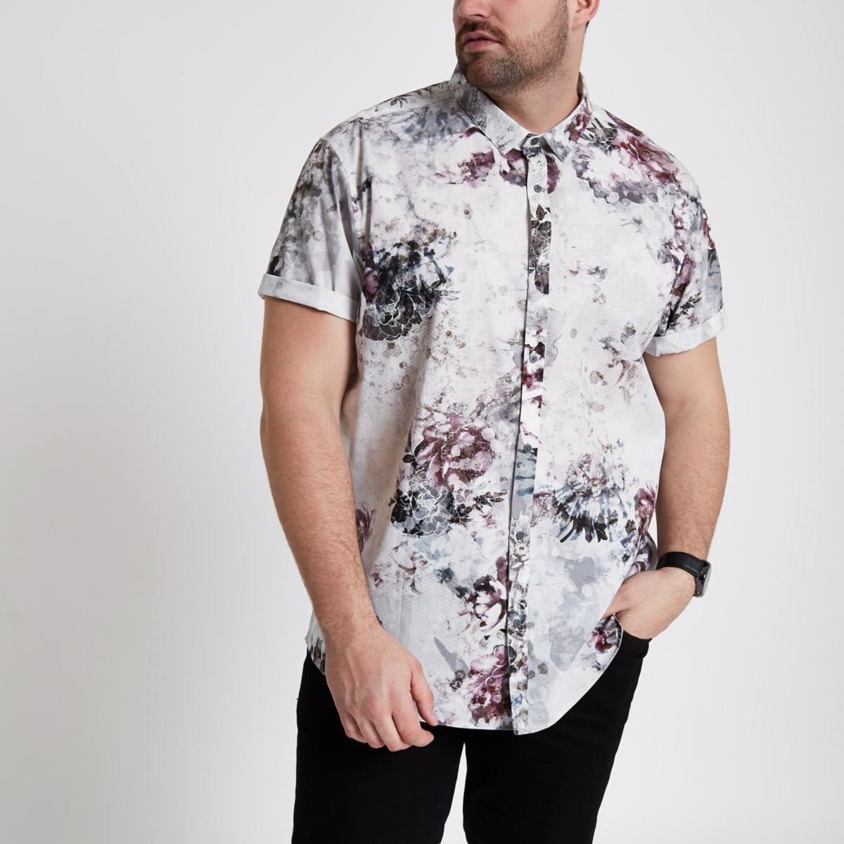 Big & Tall – Chemise à fleurs crème manches courtes
