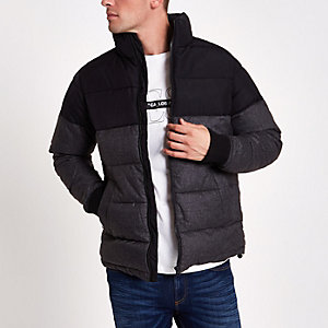 Black and grey color block puffer jacket