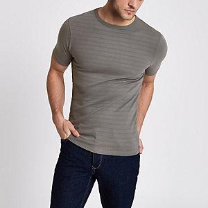Leigrijs aansluitend T-shirt met ribbels