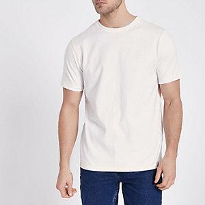T-shirt ras du cou blanc à surpiqûres contrastantes