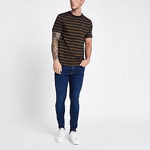 T-shirt rayé bleu marine avec rose brodée sur le devant