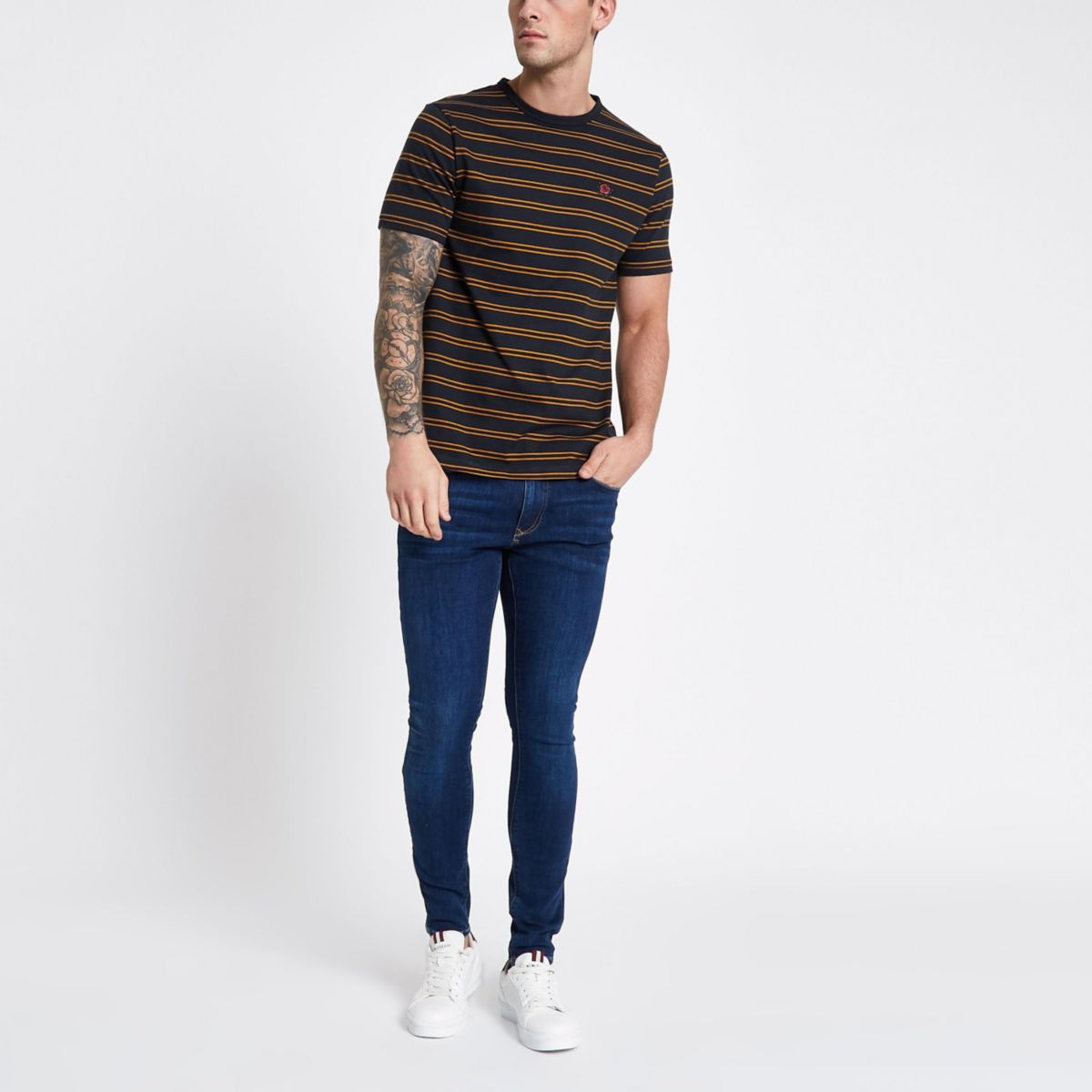 Navy stripe rose chest embroidered T-shirt