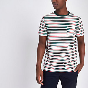 White stripe chest pocket T-shirt