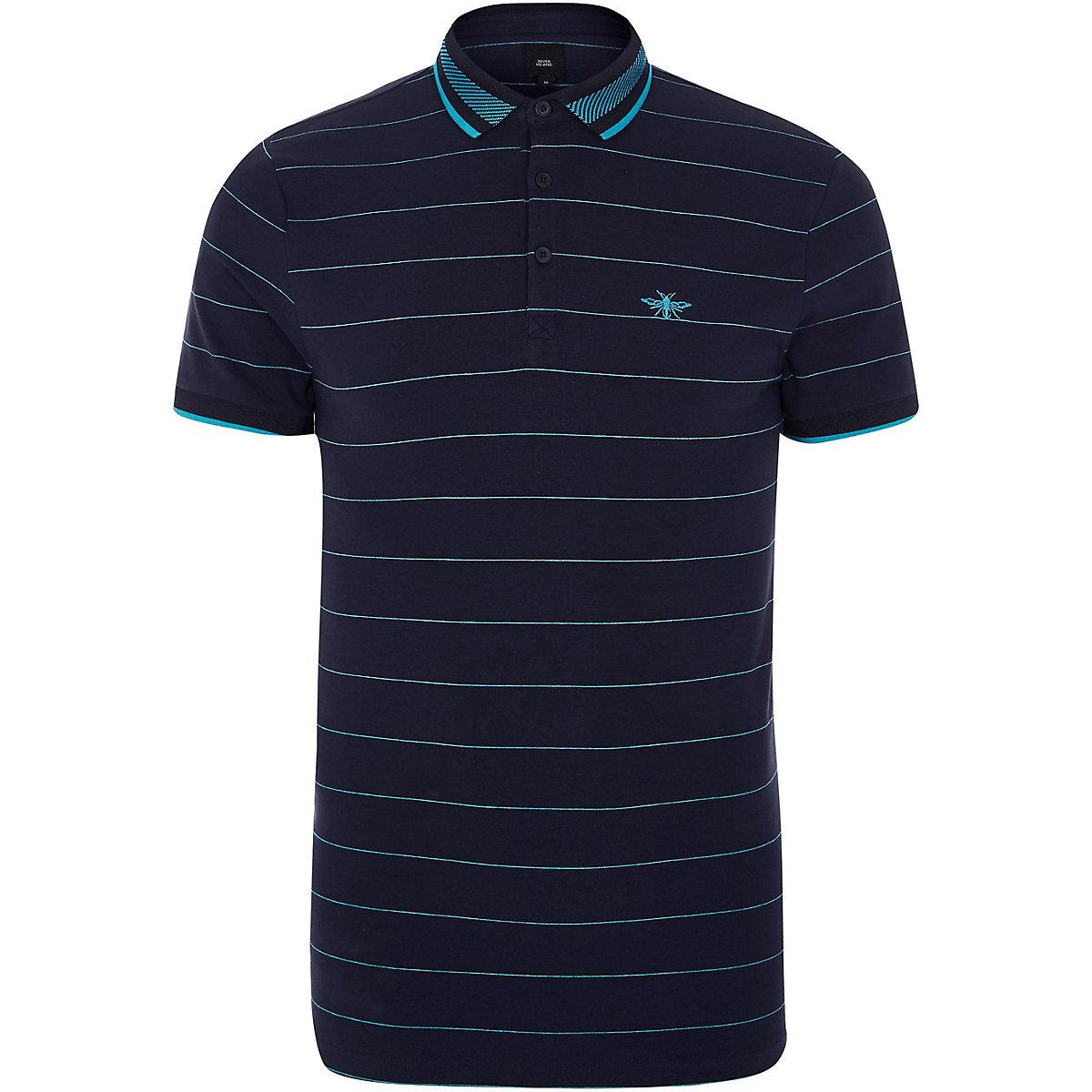 Navy Stripe Slim Fit Tipped Polo Shirt Casual Wear Sale Men