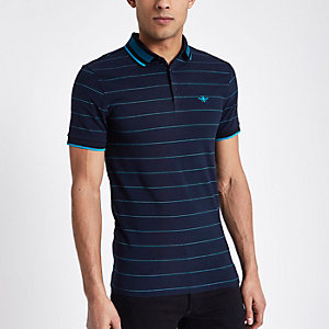 Navy stripe slim fit tipped polo shirt