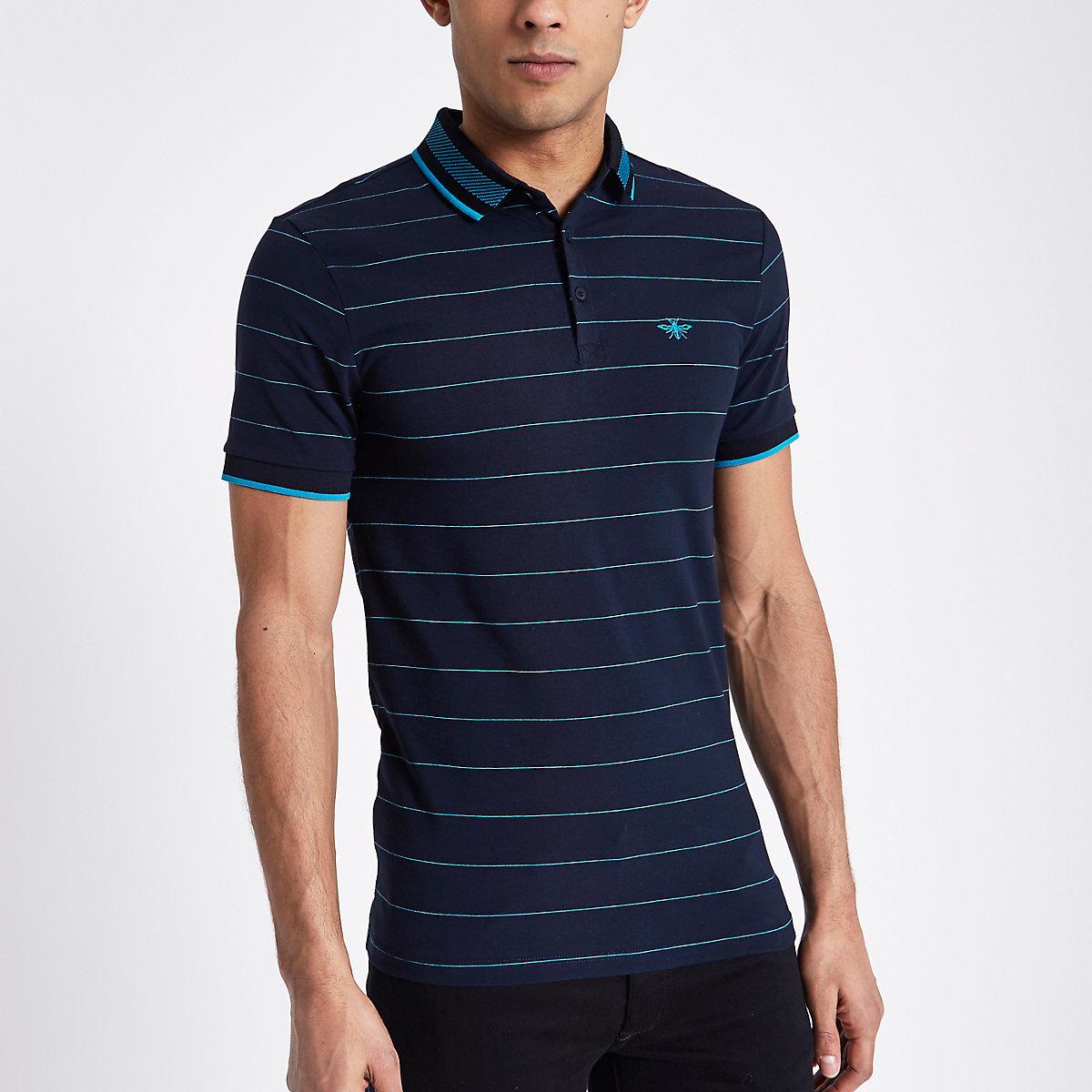 Navy stripe slim fit tipped polo shirt