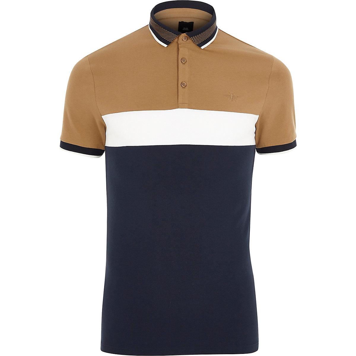 Light brown slim fit blocked polo shirt