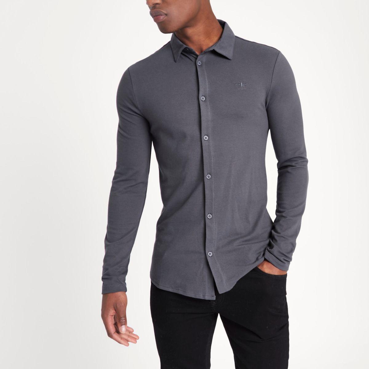 Dark grey muscle fit long sleeve pique shirt