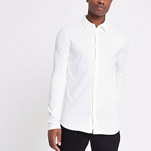White muscle fit long sleeve pique shirt