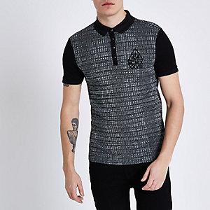 Black rib colour block muscle fit polo shirt