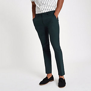 Waldgrüne, elegante Superskinny Hose