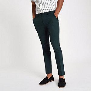 Donkergroene superskinny nette broek