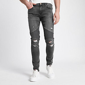 Danny – Schwarze Superskinny Bikerjeans im Used Look