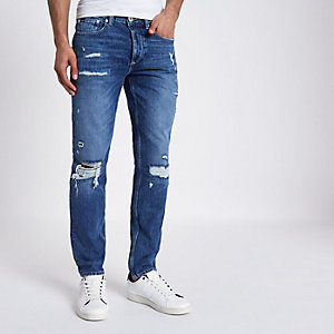 Sid – Mittelblaue Skinny Jeans im Used Look