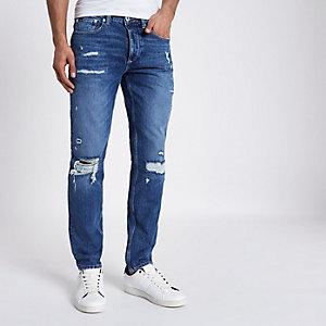 Sid - Middenblauwe ripped skinny jeans met overslag