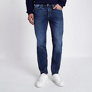Dunkelblaue, dehnbare Skinny Jeans