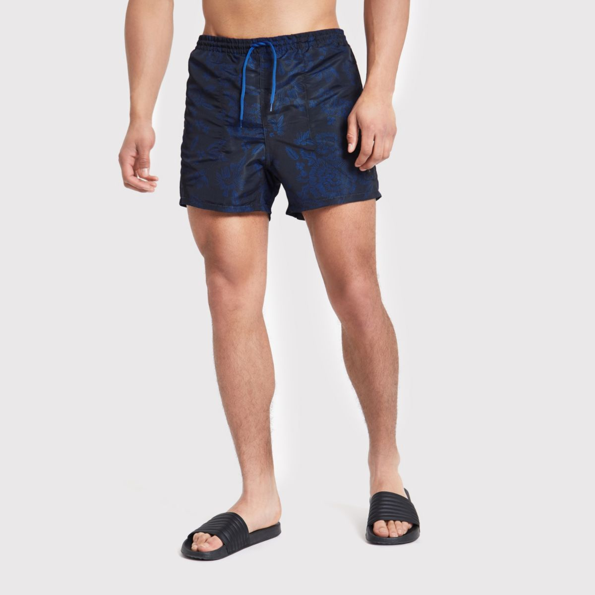 Only & Sons dark blue print swim trunks