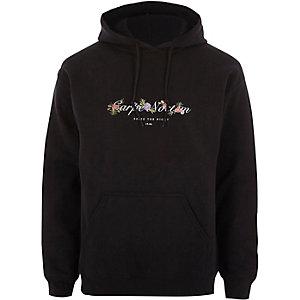 Zwarte hoodie met 'carpe noctem'- en bloemenprint