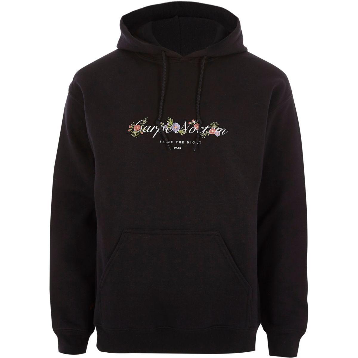 Black 'carpe noctem' floral print hoodie