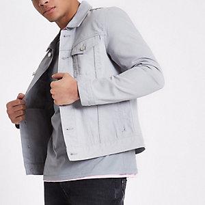 Veste en jean gris clair