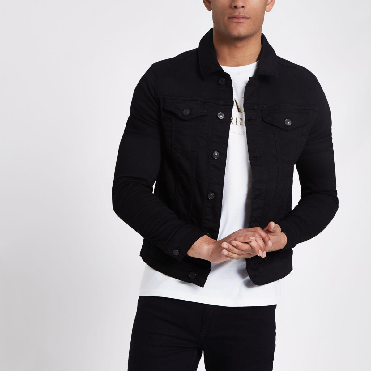 Veste en jean noir moulante