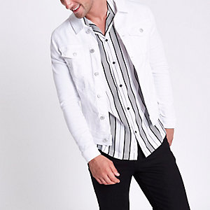 White muscle fit denim jacket