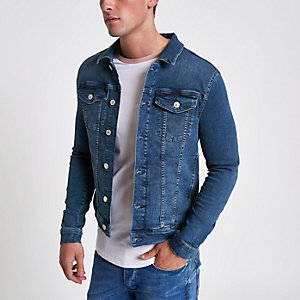 Blaue Muscle Fit Jeansjacke in Stone-Waschung