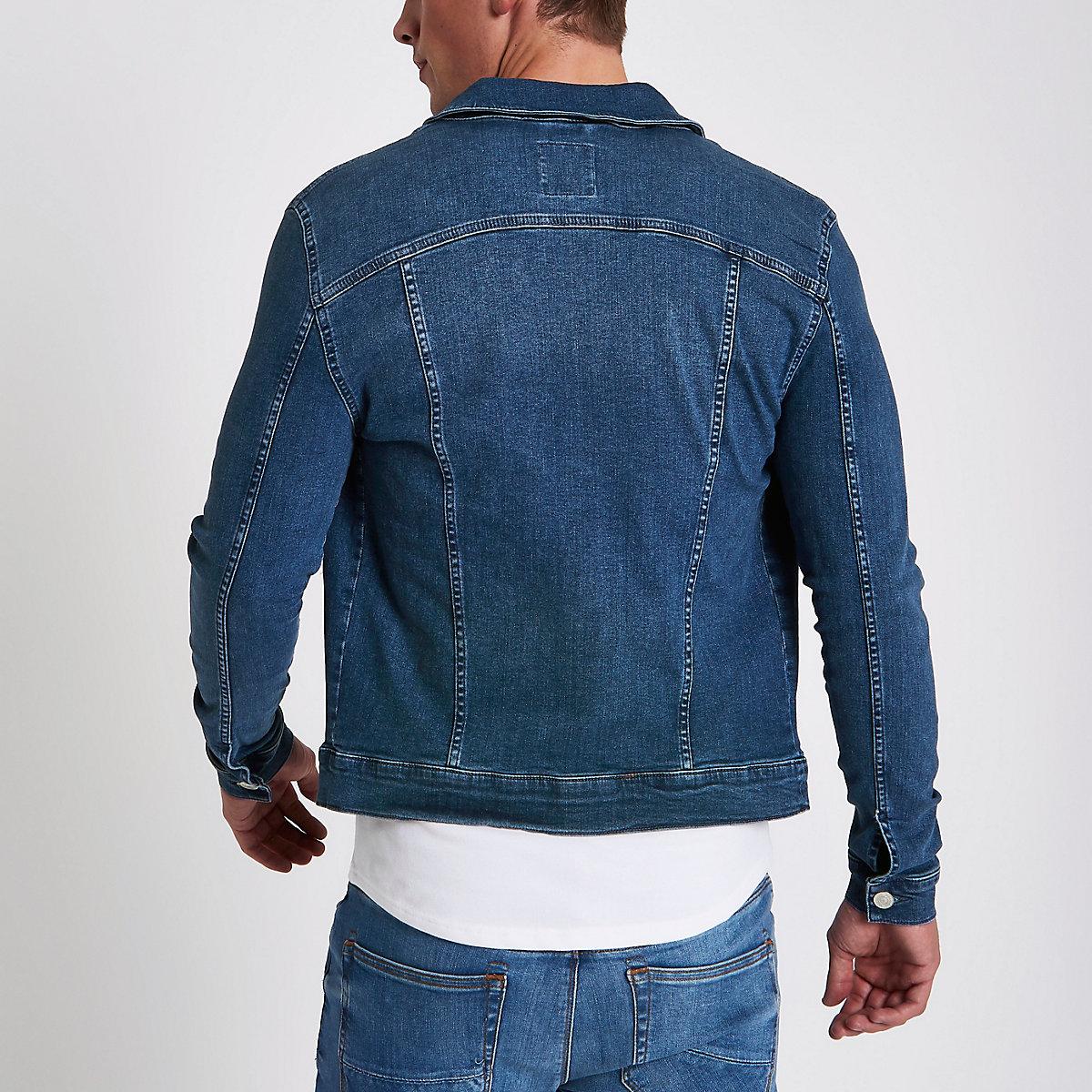 04490b122f508 Veste en jean moulante bleu délavé - Vestes - Manteaux   Vestes - Homme
