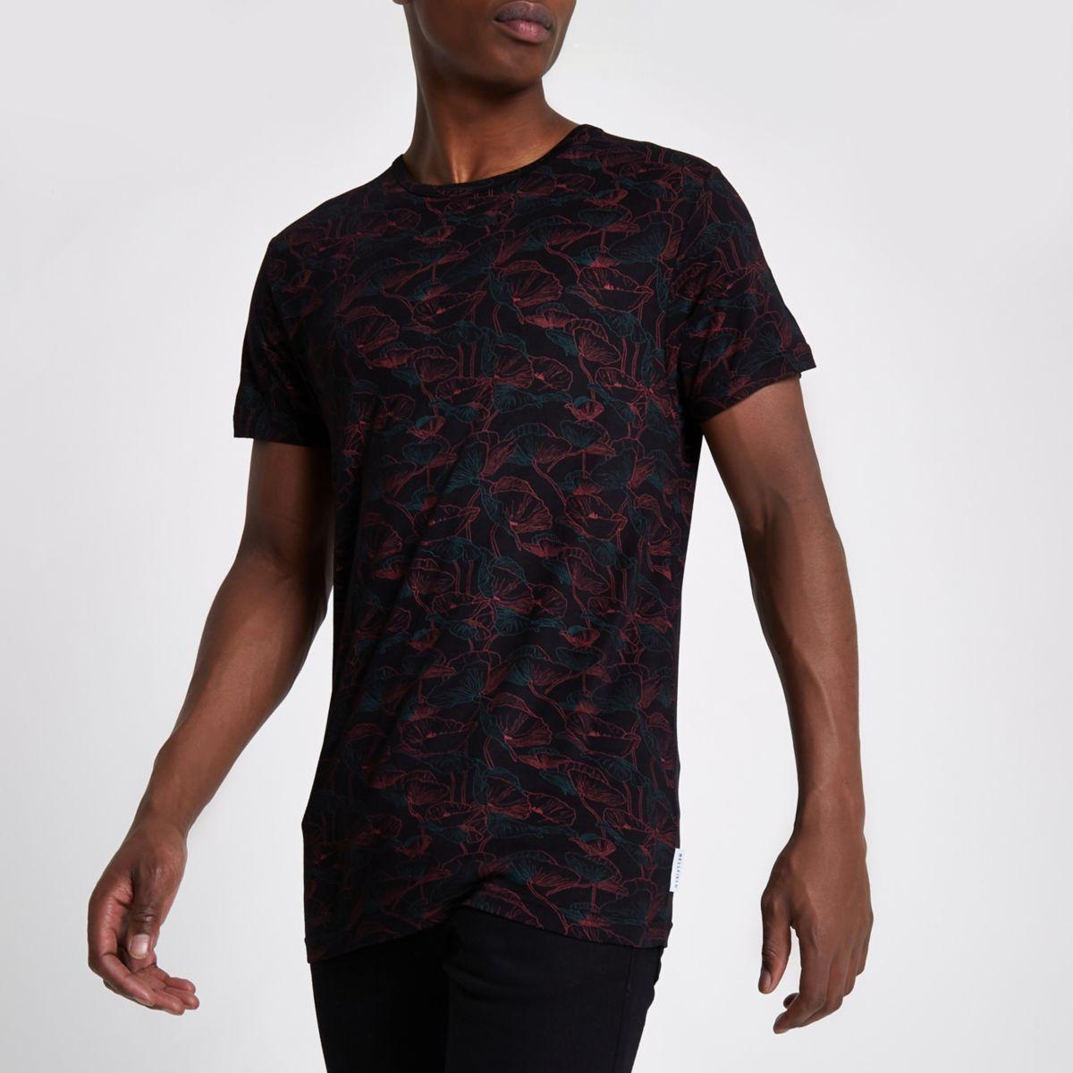Bellfield – Schwarzes T-Shirt mit Rundhalsausschnitt