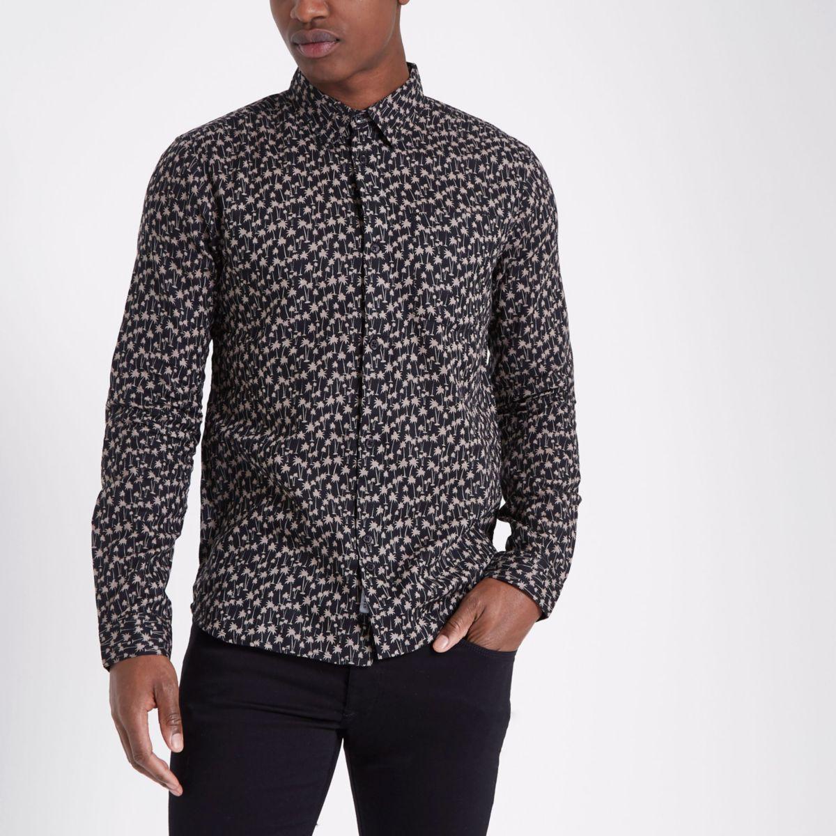 Bellfield - Zwart overhemd met palmenprint en lange mouwen