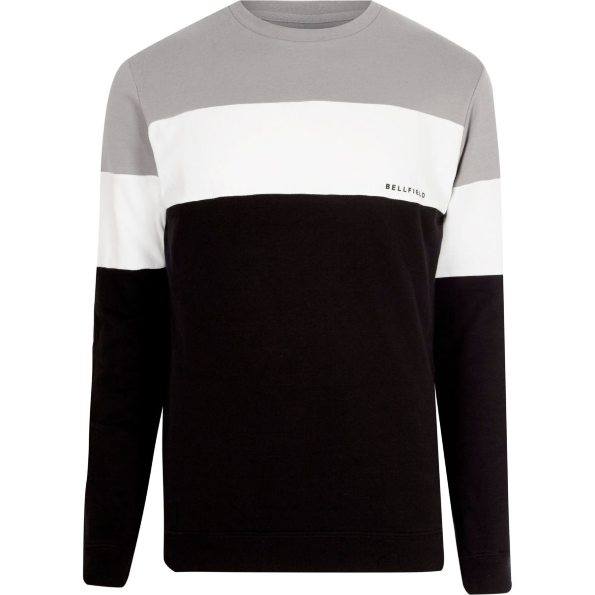 Bellfield – Graues Sweatshirt in Blockfarben