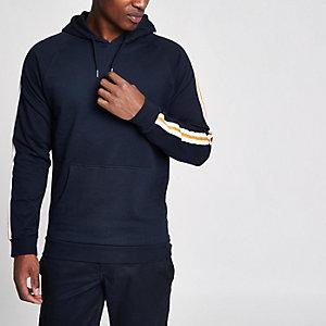 Bellfield - Marineblauwe hoodie met gestreepte mouwen