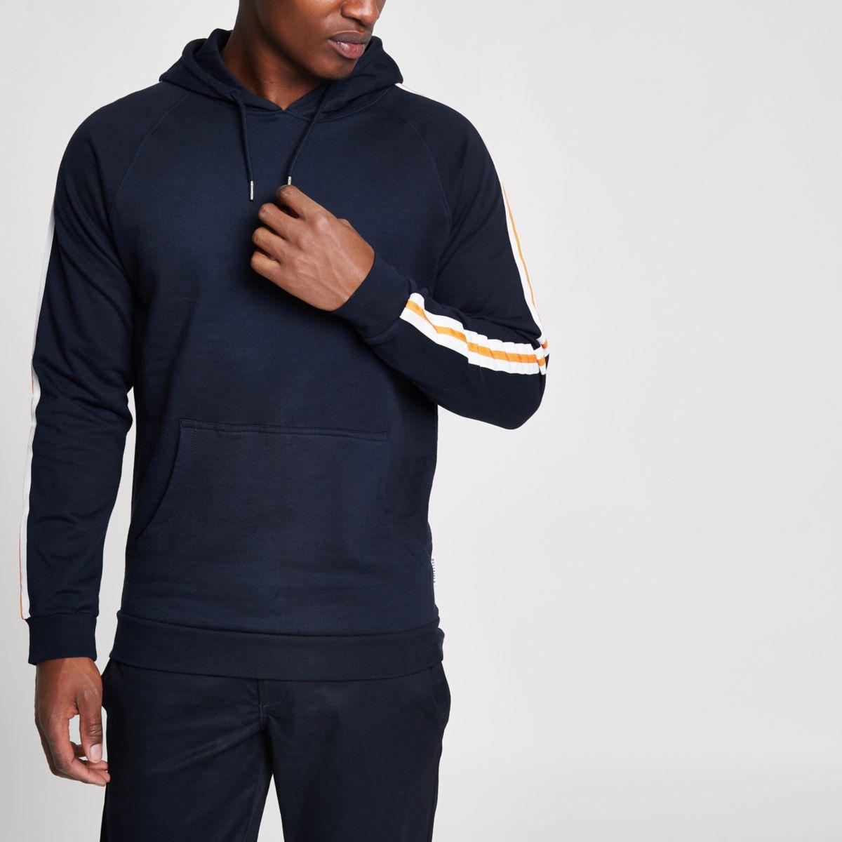 Navy Bellfield stripe sleeve hoodie