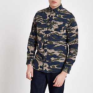 Jack & Jones green camo print Oxford shirt